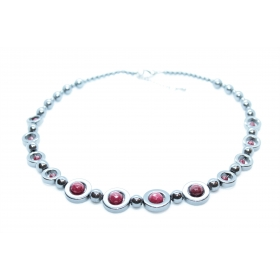 "Hematiit / Punane Kaltsedon disain kaelakee ""Ring"" 45cm"