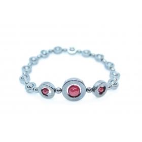 "Hematiit / Punane Kaltsedon disain käevõru ""Ring"""