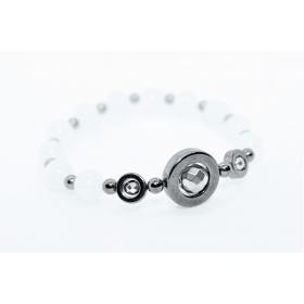 """Valge Jaad / Hematiit disain käevõru """"Ring"""""""