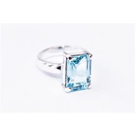 Sinine Topaas sõrmus Hõbe 925; 7,4g